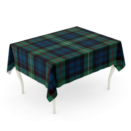 JSDART Scottish Tartan Blue Black Green Red and Gold Plaid Printing Pattern Flannel Patterns T Tablecloth Table Desk Cover Home Party Decor 60x104 inch - image 1 of 1