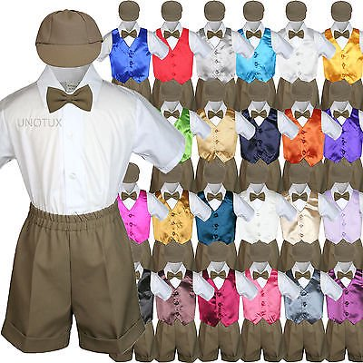 Boys Toddler Formal Vest Shorts Suit Satin Vest Dark Taupe Bow Tie Hat 5pc Set