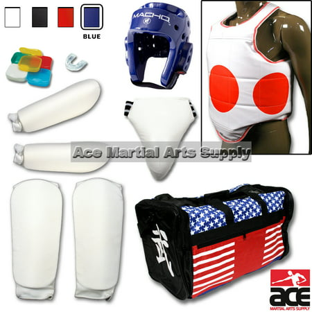 Pine Tree Complete Cloth Martial Arts Sparring Gear Set with Bag, Forearm/Shin, & Groin, Small White Headgear, Child Small Other Gears Male ()