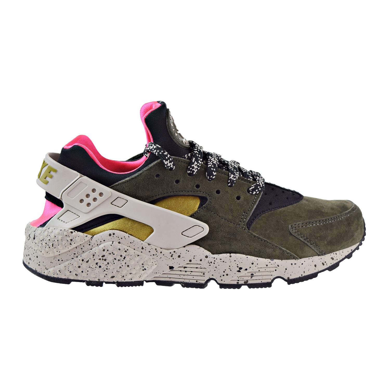 Nike Air Huarache Run PRM Mens Running Shoes Black Desert Moss-Solar Red 704830-010 by Nike