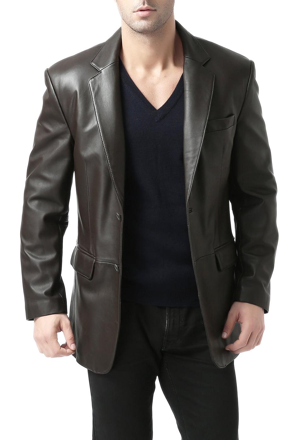 "Men's ""Richard"" Classic Two-Button New Zealand Lambskin Leather Blazer - Big & Tall"