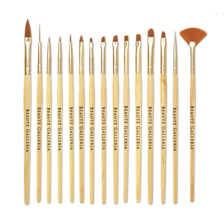 Beaute Galleria 15pcs Nail Brush Set for Detailing, Striping, Blending, One-Stroke Nail Art with Gel Brushes, Painting Brushes, 3D Brush, Dotting Tool, Fan Brush and