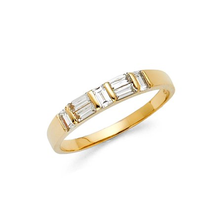 Baguette CZ Wedding Band 14k Yellow Gold Bridal CZ Band Anniversary CZ Ring Channel Set Stones