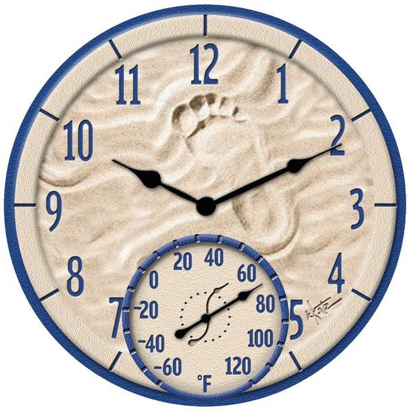 """14"""" By the Sea Poly Resin Clock with Thermometer"""