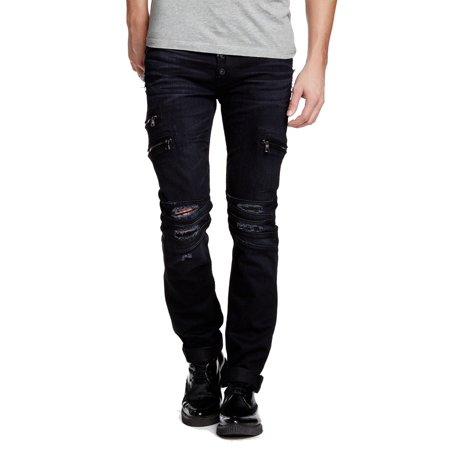 ee0f3c07c4d Hudson - Hudson NEW Black Mens 28x33 Vicious Distressed Skinny Stretch Jeans  - Walmart.com