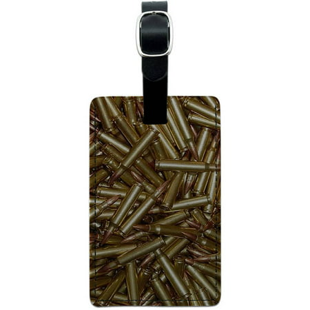 Bullets Rifle Gun Weapon Leather Luggage ID Tag Suitcase Carry-On