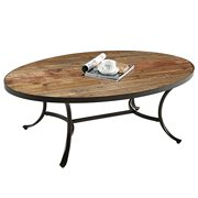 ModHaus Living Country Style Reclaimed Wood Top Oval Shaped Cocktail Coffee Table | Metal Legs, Natural Finish, Living Room Decor - Includes Pen