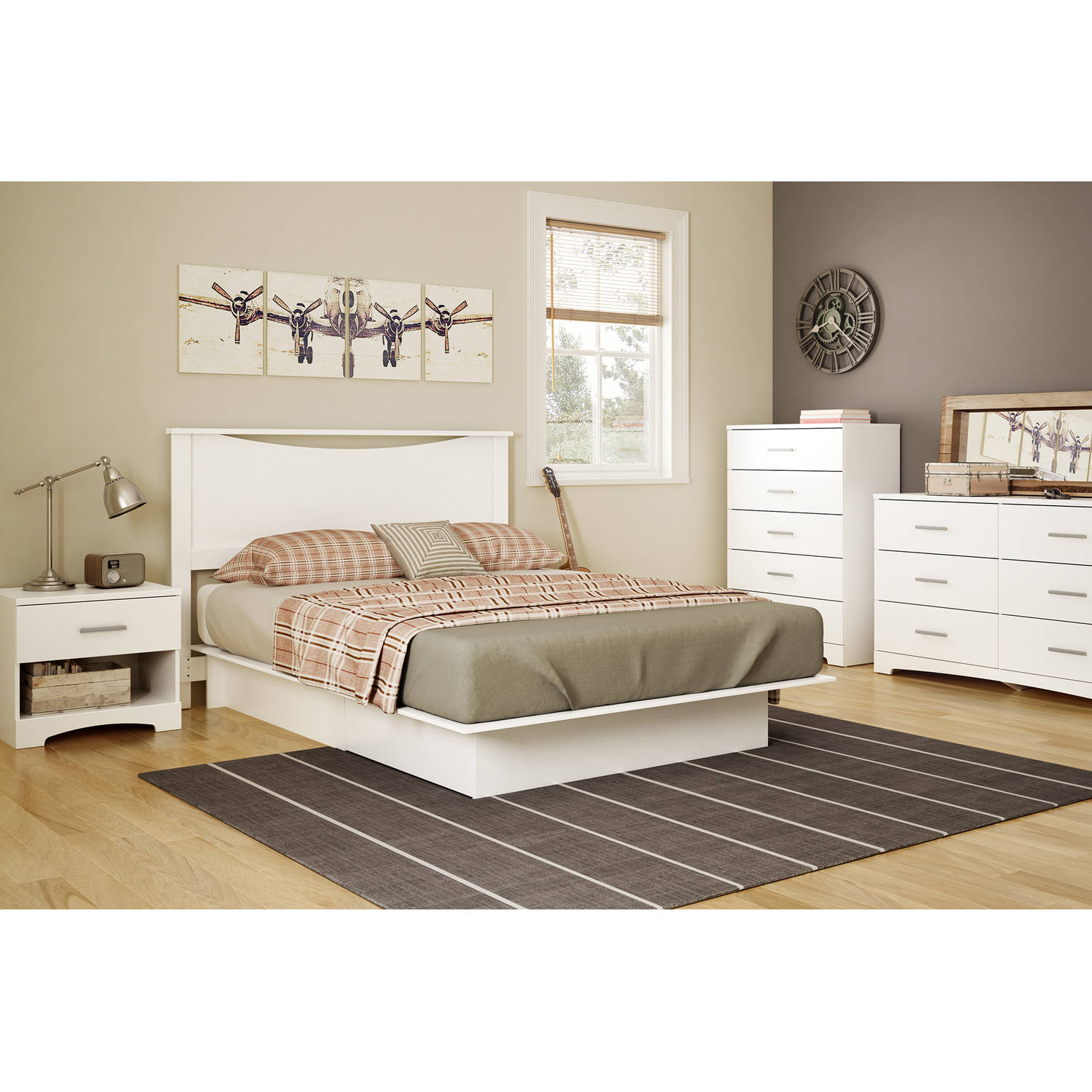 White platform bed full queen size with drawers bedroom furniture storage new ebay for Bedroom set with storage drawers
