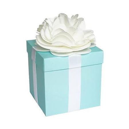 "Large Robin Egg Blue & White Ribbon with Flower Gift Box Tiffany Mint Blue with Lid 6""x6"""