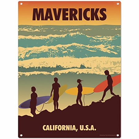 Mavericks California Surf Beach Metal Sign US Travel 12 x 16   , By  Original Metal Sign Ship from US