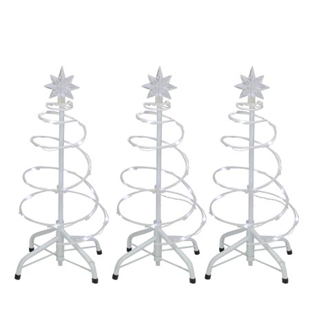 Set of 3 LED Lighted Spiral Cone Walkway Christmas Trees Outdoor Decorations 18