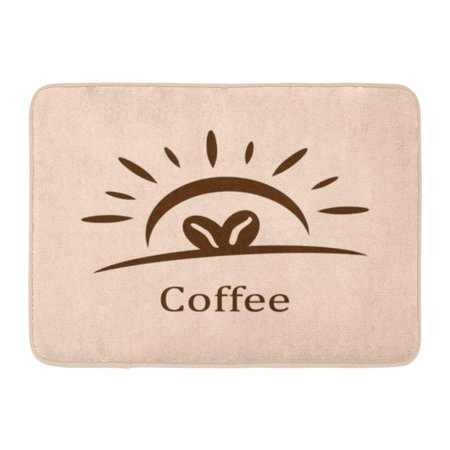 YUSDECOR Cafe Brown Bright Coffee Beans with Sun Shine Brush Circle Rug Doormat Bath Mat 23.6x15.7 inch - image 1 of 1