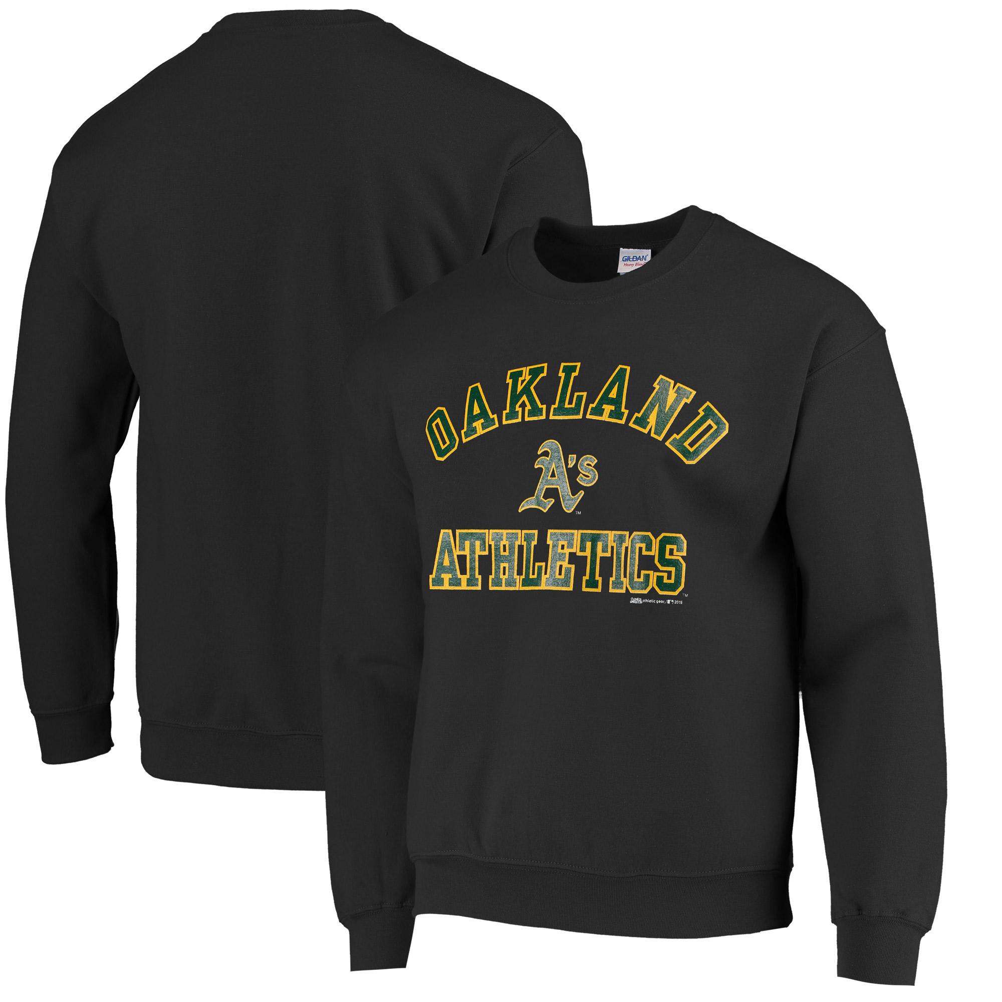 Stitches Oakland Athletics Fleece Crew Neck Sweatshirt - Black