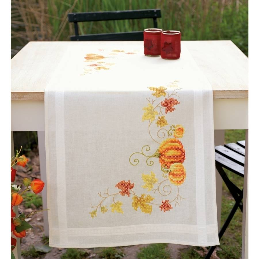 """Vervaco Pumpkins Table Runner Stamped Cross Stitch Kit, 16"""" x 40"""""""