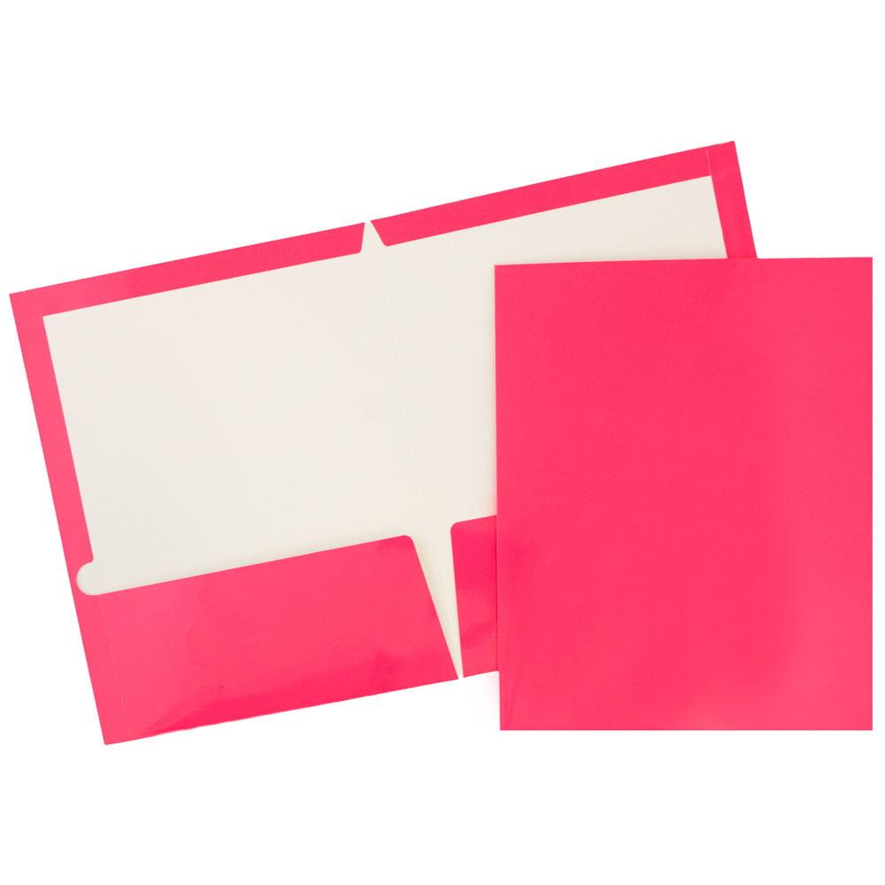JAM Paper Glossy Two Pocket Presentation Folder, Fuchsia Hot Pink, 25/pack