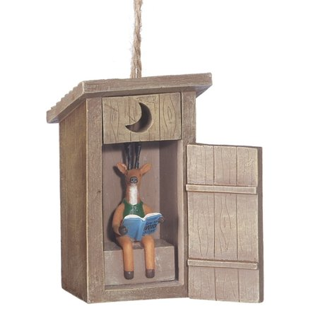 Outhouse with Deer Inside Reading a Book Funny Christmas Holiday Ornament