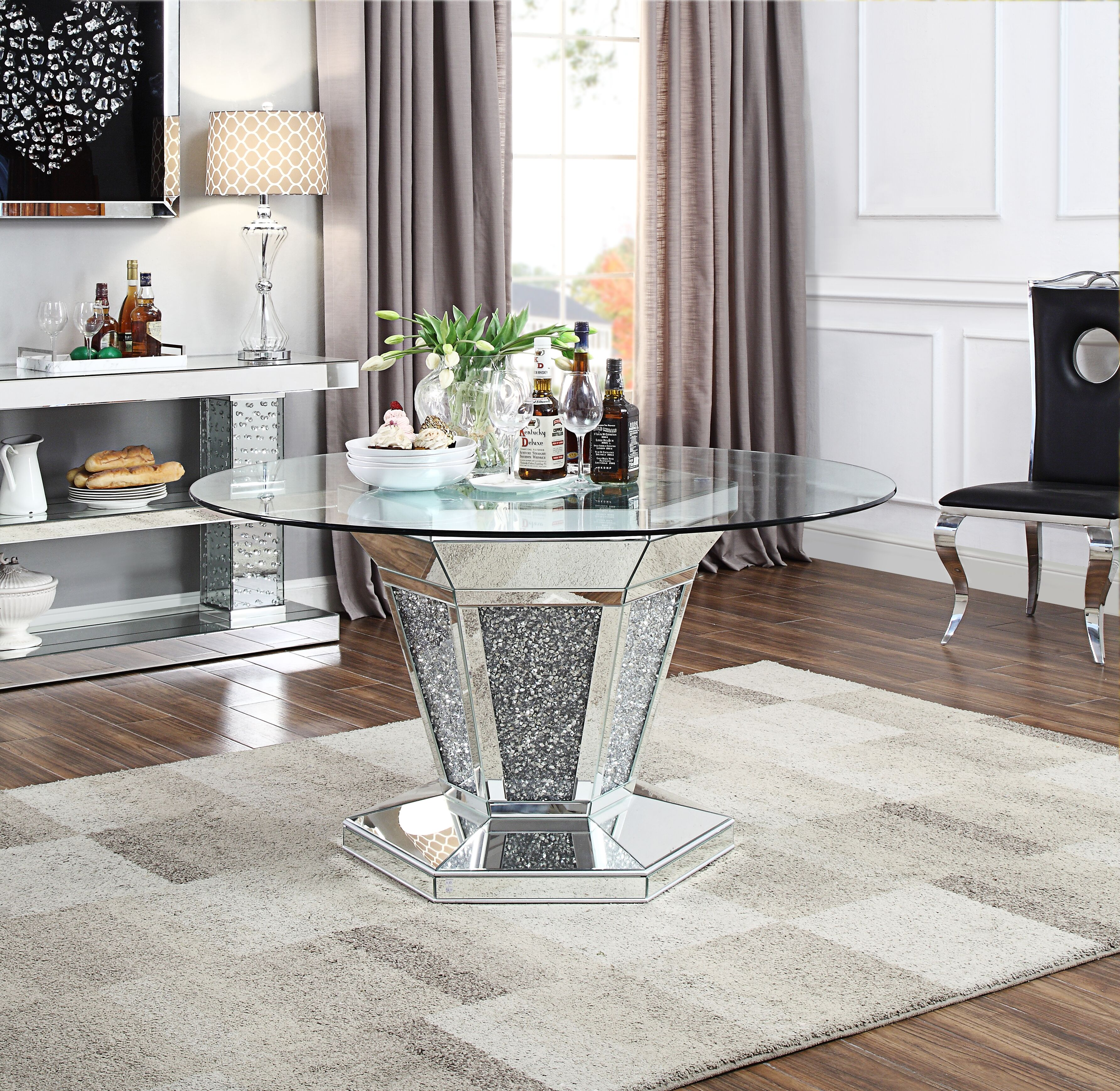 Acme Noralie Dining Table In Mirrored Faux Diamonds And Clear Glass Walmart Com Walmart Com