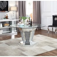 Acme Noralie Dining Table in Mirrored, Faux Diamonds and Clear Glass