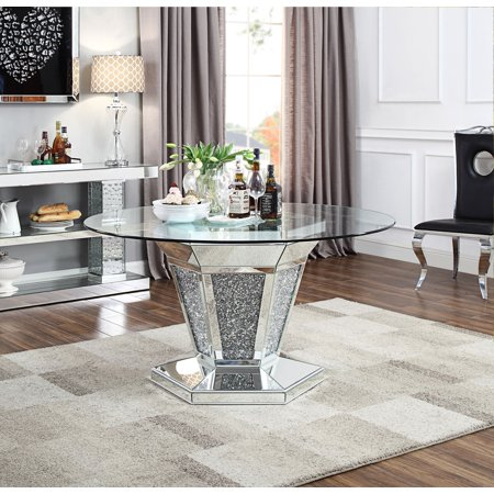 Oval Clear Glass Dining Table (Acme Noralie Dining Table in Mirrored, Faux Diamonds and Clear Glass )
