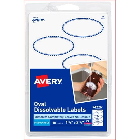 avery 4x6 dissolvable oval label 18ct walmart com