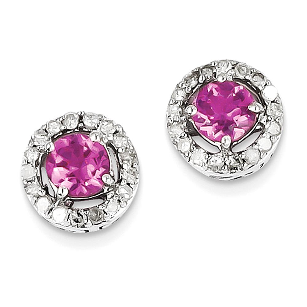 Sterling Silver Diamond & Pink Tourmaline Circle Post Earrings by