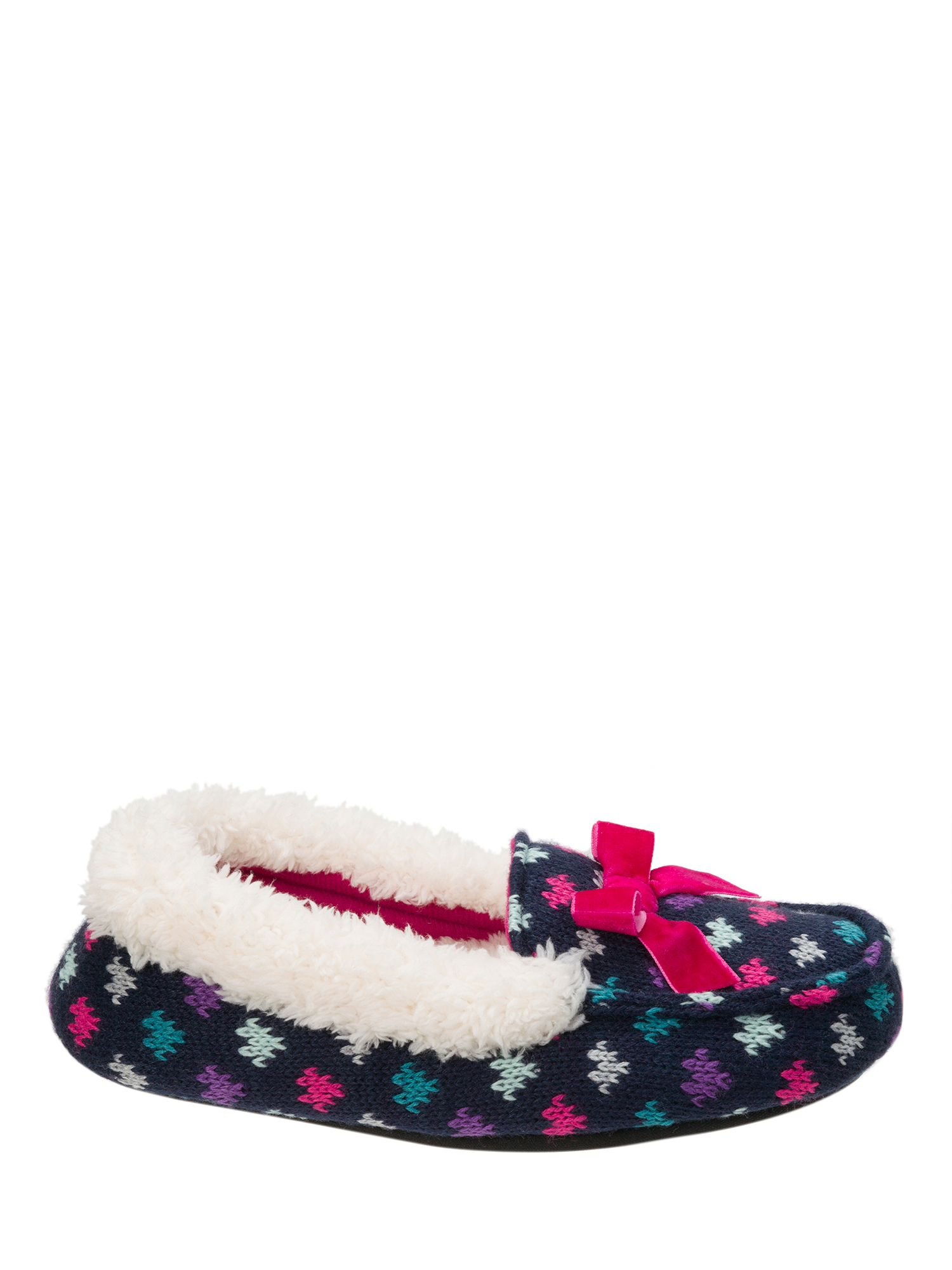 DF by Dearfoams Girls' Sweater Knit Moc Slippers