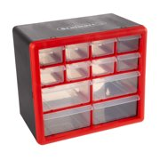 Tool Storage Drawers-12 Compartment Organizer Desktop or Wall Mount Container- 4 Large and 8 Small Bins for Hardware, Beads, Jewelry, and More by Stalwart