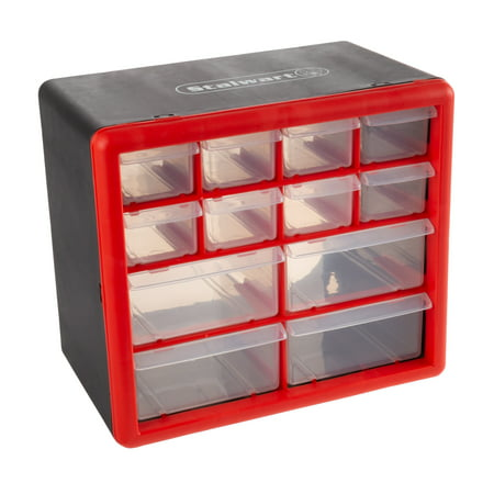 - Tool Storage Drawers-12 Compartment Organizer Desktop or Wall Mount Container- 4 Large and 8 Small Bins for Hardware, Beads, Jewelry, and More by Stalwart