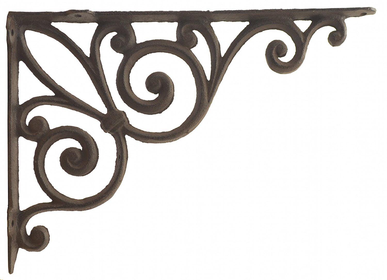 Antique Brown Finish cast iron SET OF 4 FLEUR DE LIS SHELF BRACKET BRACE