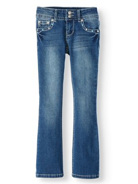 Seven7 Omega Rhinestone Pocket Flap Bootcut Jean (Big Girls)