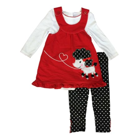 Infant & Toddler Girls Poodle Baby Outfit Red Jumper Top & Polka Dot Pants