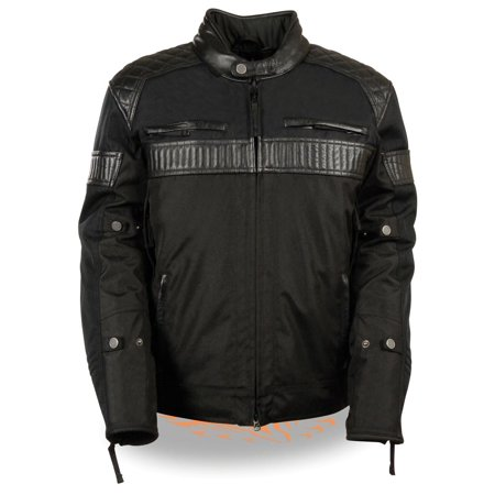 Milwaukee Leather Mens Black Textile Scooter Jacket with Leather Trim and Gun P
