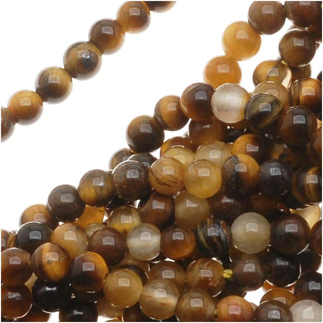 Tiger Tigers Eye Gemstone 2mm Round Beads / 16 Inch Strand