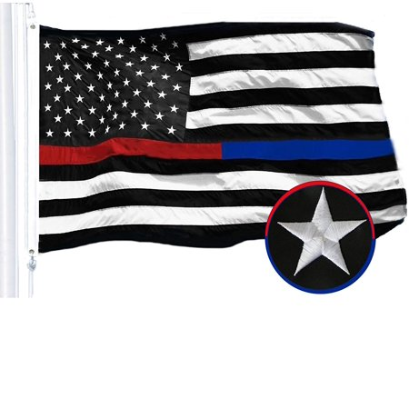 G128 – 3x5 feet, Thin Red & Thin Blue Line Flag | Embroidered 210D – Half Red Half Blue Stripe, Black&White Flag, Indoor/Outdoor, Vibrant Colors, Brass Grommets, Quality