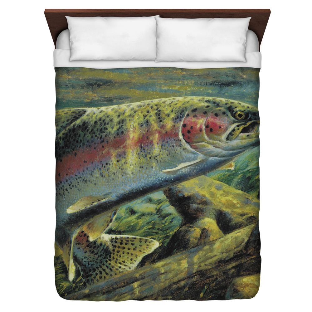 Wild Wings Rainbow Trout 2 Queen Duvet Cover White 88X88