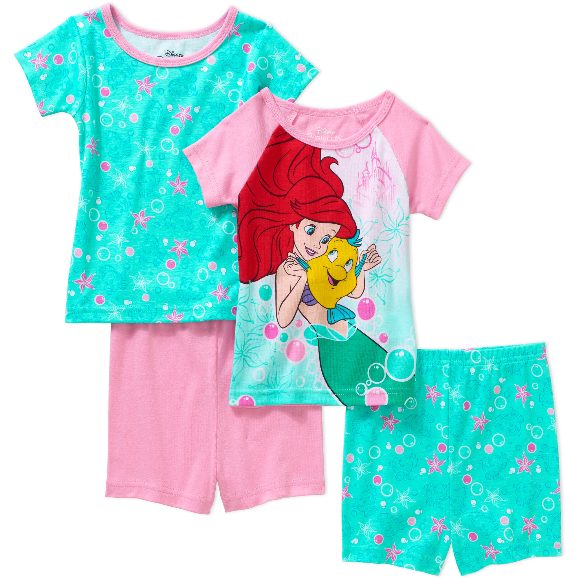 Disney Little Mermaid Ariel Toddler Girl Cotton Tight Fit Short Sleeve Sleep Set, 4-Pieces
