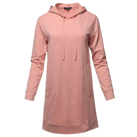 FashionOutfit Women's Solid Over-Sized Drawstring Hooded Long-Line Tunic Top
