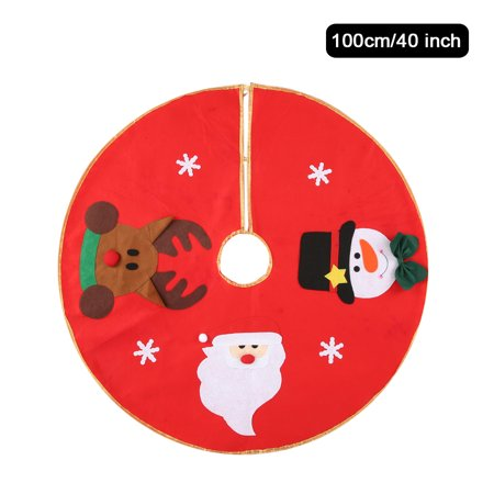 40 inches Diameter Red Christmas Tree Skirt Non-Woven Santa Calus Snowman Reindeer Pattern Christmas Tree Decorations Ornaments (40 Stock Car Santa)