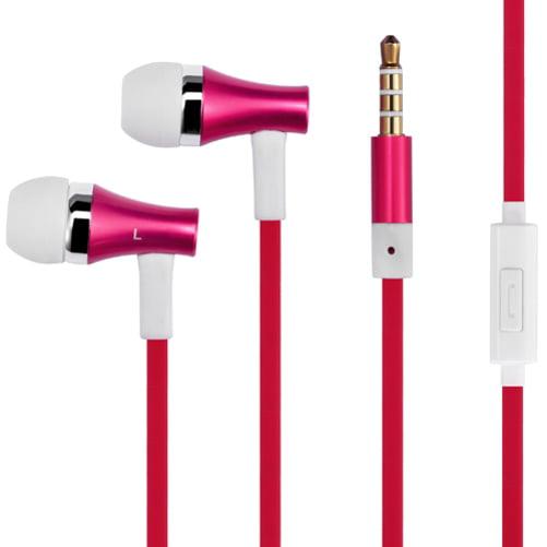 Premium Sound Red Earbuds Hands-free Earphones w Mic Dual Metal Headphones Headset Compatible With Motorola Moto G6