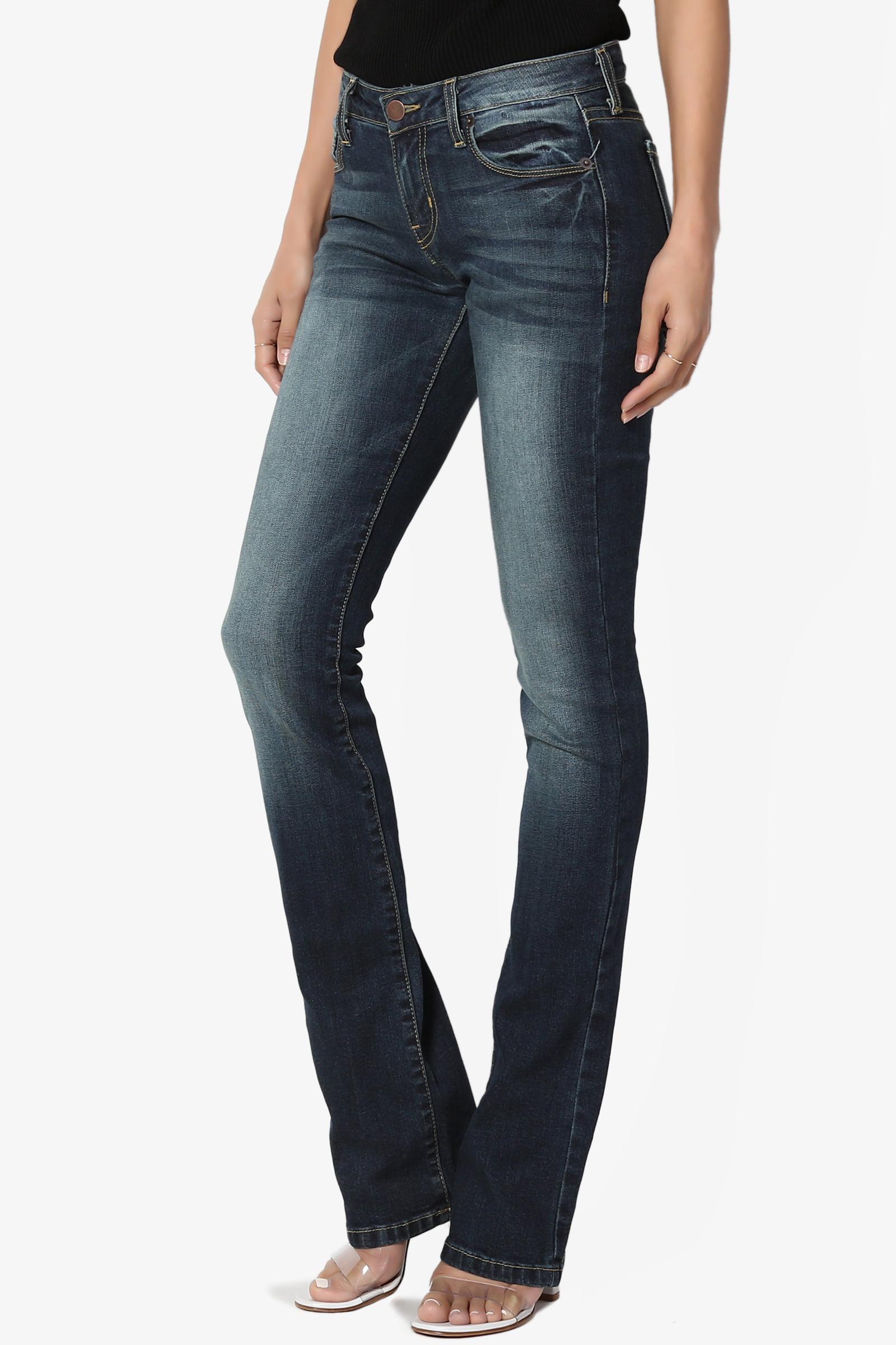 TheMogan Vintage Versatile Washed Stretch Denim Mid Rise Slim Boot Cut Jeans