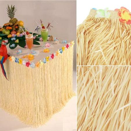 Luau Table Decor (Table Skirt-Hawaiian Luau Colorful Flower Grass Garden Beach Party Table Skirt Cover)