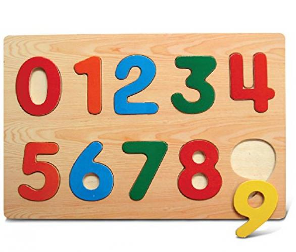 Kids Playschool Preschool Puzzled Raised Puzzle Small Numbers Wooden Toys by Puzzled