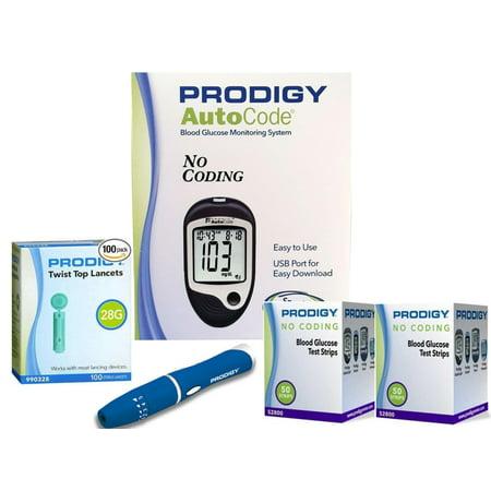 Prodigy Auto Code Diabetes Testing Kit - Prodigy Talking Meter, 100 Prodigy Test Strips, 100 Lancets, Lancing Device, Carry (Best Lancing Device For Diabetes)