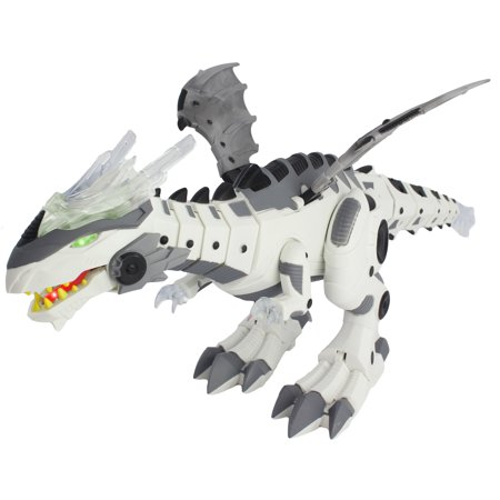 Battery Operated Walking Dinosaur Dragon Robot Robotic Dino with Head Movement, Tail Swinging Action, Wing Movement, Lights, Dinosaur Sounds and Jaw/ Mouth Opening Action/ Movement