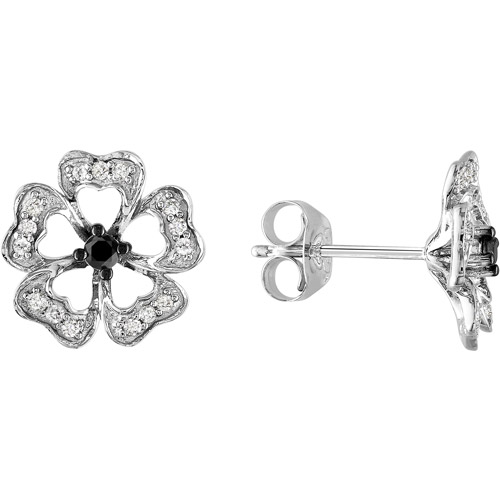1/4 Carat T.W. Black and White Diamond Black-Plated Sterling Silver Earrings (2.1mm)