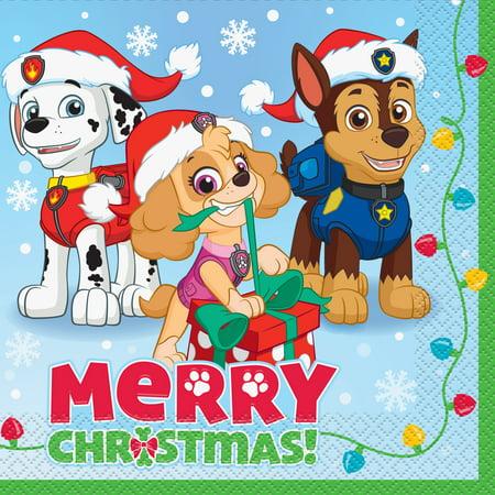 Paw Patrol Christmas.Paw Patrol Christmas Luncheon Napkins 6 5 In 18ct