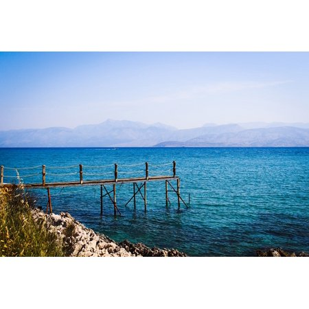 LAMINATED POSTER Sea Rock Blue Web Water Corfu Stones Greece Poster 24x16 Adhesive Decal