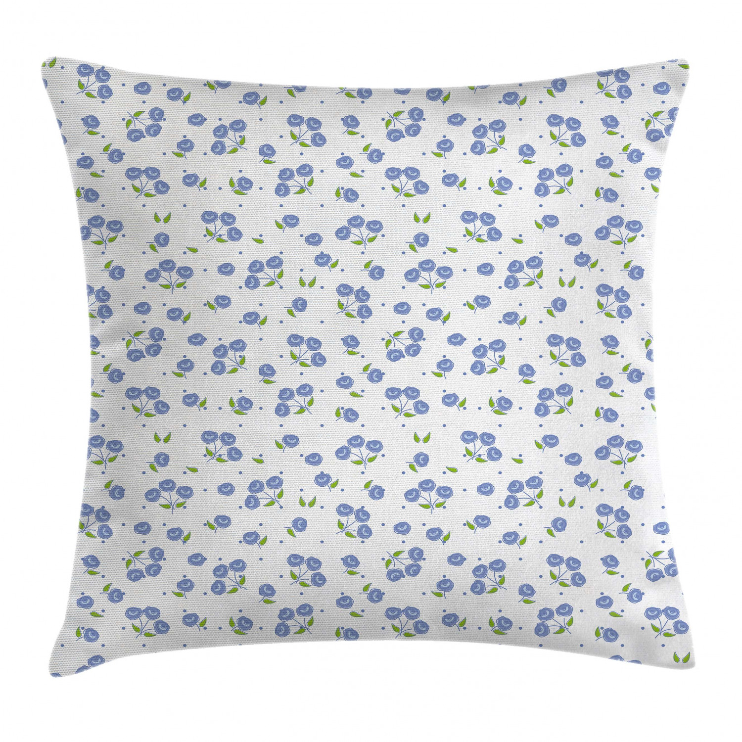 Floral Throw Pillow Cushion Cover Vintage Rose Flowers Bouquets Spring Season Theme Dots Green Leaves Decorative Square Accent Pillow Case 24 X 24 Inches Violet Blue Green White By Ambesonne Walmart Com
