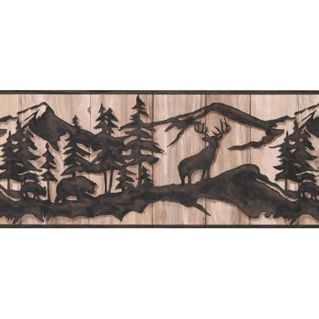 """Chocolate Brown Abstract Wild Forest Deer Bear on Beige Faux Wood Wallpaper Border Retro Design, Roll 15' x 10"""" - image 2 of 3"""