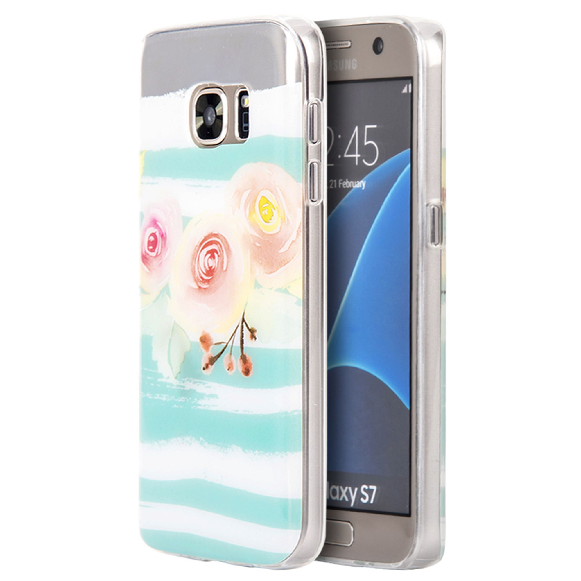 Insten Peach Blossom TPU Water Color IMD Rubber Skin Shell Case For Samsung Galaxy S7 - Green/Orange